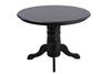 black wood dinette set and black wood buffet with stainles steel top