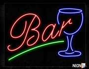 Bar With Green Line And Glass Neon Sign