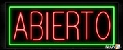 Abierto With Green Border Neon Sign