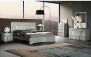 Grey- 8 Piece Bedroom Set- Bed,  Dressor,  5 Drawer Chest,  Footboard