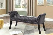 Grey Velvet Bench with Deep Tufting & Nail Head Details