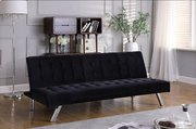 Velvet Sofa Beds with Chrome Legs- Black